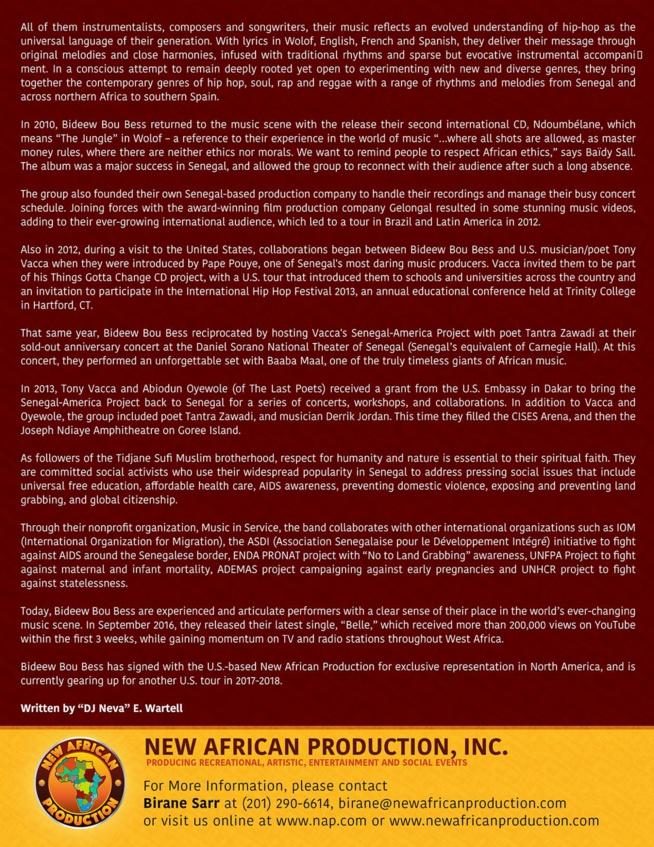 Le groupe Bidew Bou Bess signe un partenariat avec le Label Américain NEW AFRICAN PRODUCTION INC.