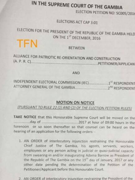 Gambie: un Arrêté de la « Cour suprême » et le parti de Jammeh annulent l'investiture de Barrow