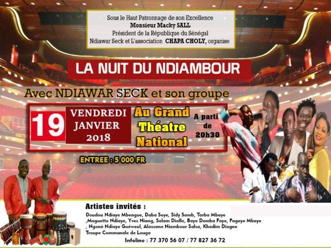 La nuit de la Diaspora avec Ndiawar Seck et Ndama Torino le 19 janvier au grand Théâtre;