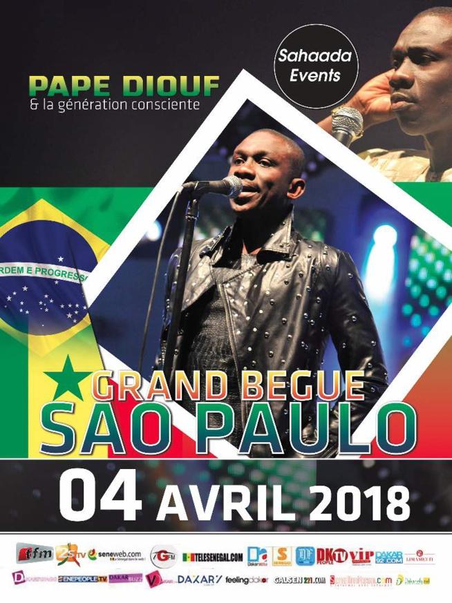 """Le """"GRAND BÉGUÉ"""" AU BRESIL: Pape Diouf à Sao Paulo le 04 avril pour fêter l'indépendance du Senegal"""
