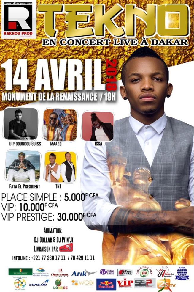 Concert exceptionnel samedi 14 Avril à Dakar avec pour la première fois la star nigérienne TEKNO en concert live au Monument de la Renaissance africaine.