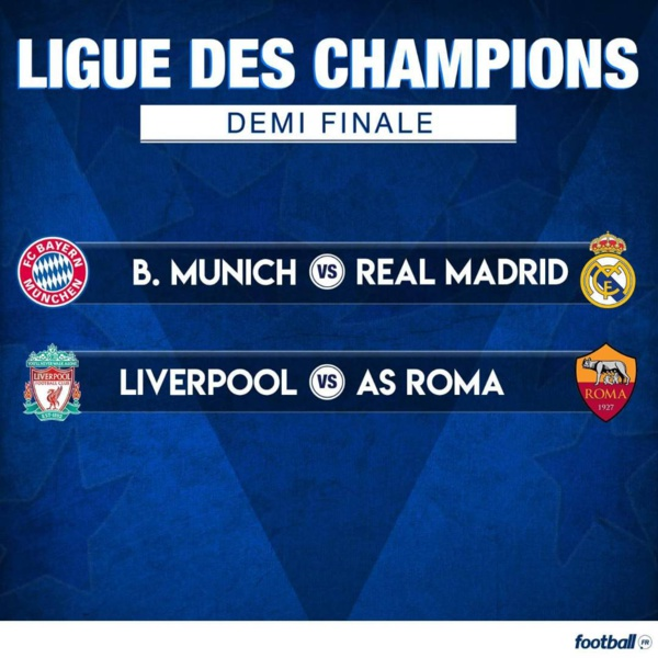 Ligue des Champions : Choc Bayern vs Real Madrid et Liverpool vs Roma