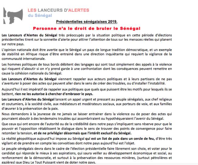 Contribution des Lanceurs d'Alertes du Sénégal pour alerter l'opinion nationale et internationale sur les risques de violence au Sénégal.