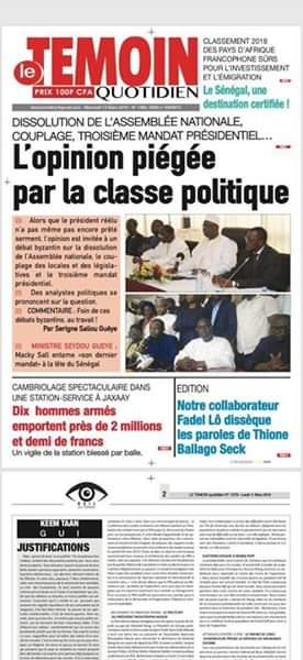 A la Une : Révélation du quotidien Enquete, des pontes du régime auraient financé la campagne présidentielle de l'opposition ; Les enlèvements d'enfants, les braquages et les incendies reprennent de plus belle ; Troisième mandat de Macky Sall : le po