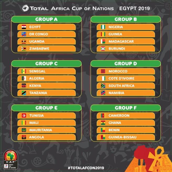 CAN 2019 : Le Sénégal logé dans le groupe C avec l'Algérie, le Kenya et la Tanzanie