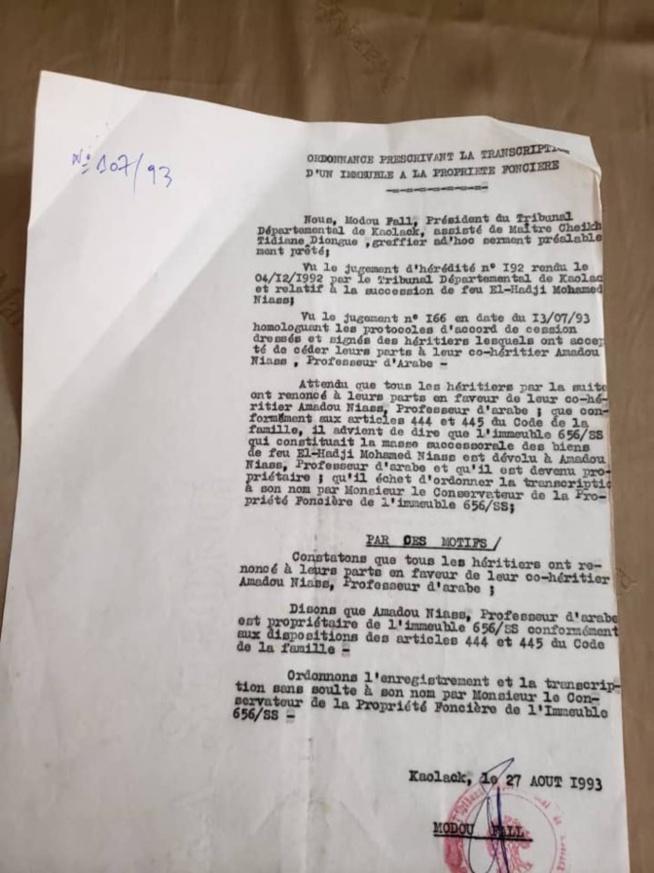 Affaire de la maison de Sidy Lamine : Les précisions de Ahmed Khalifa Niasse (documents)