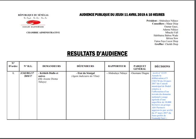 Verdict du procès Etat du Sénégal / Kéthiéh et autres