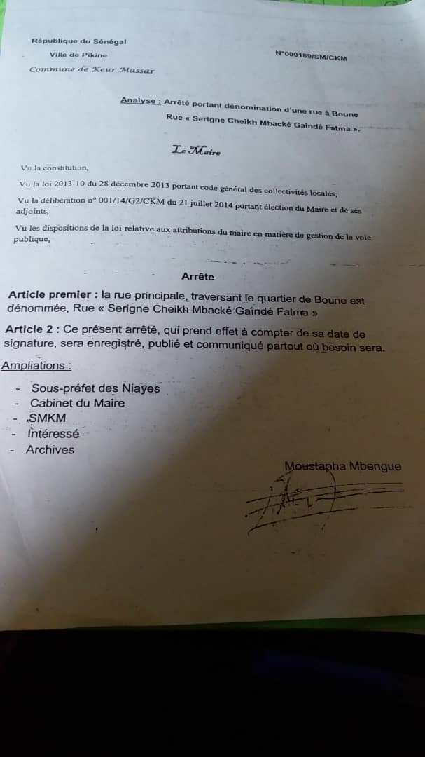 Inauguration de la RUE SERIGNE CHEIKH MBACKÉ GAINDÉ FATMA.