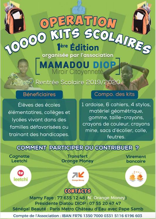 L'ASSOCIATION FEU MAMADOU DIOP TUE LORS DES PRESIDENTIELLE 2012,Lance Opération 10000 kits scolaires pour le Sénégal