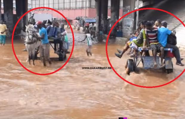 Tuyau endommagé , stagnation des eaux pluviales, charrettes et motos arrêtés par la police…Croisement Cambéréne, un croisement de calvaire, les passagers réagissent