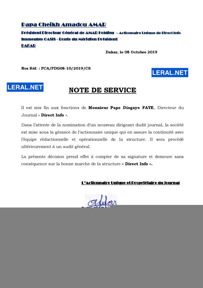 Licenciement: Cheikh Amar met fin aux agissements de Pape Diogaye Faye ( Document )