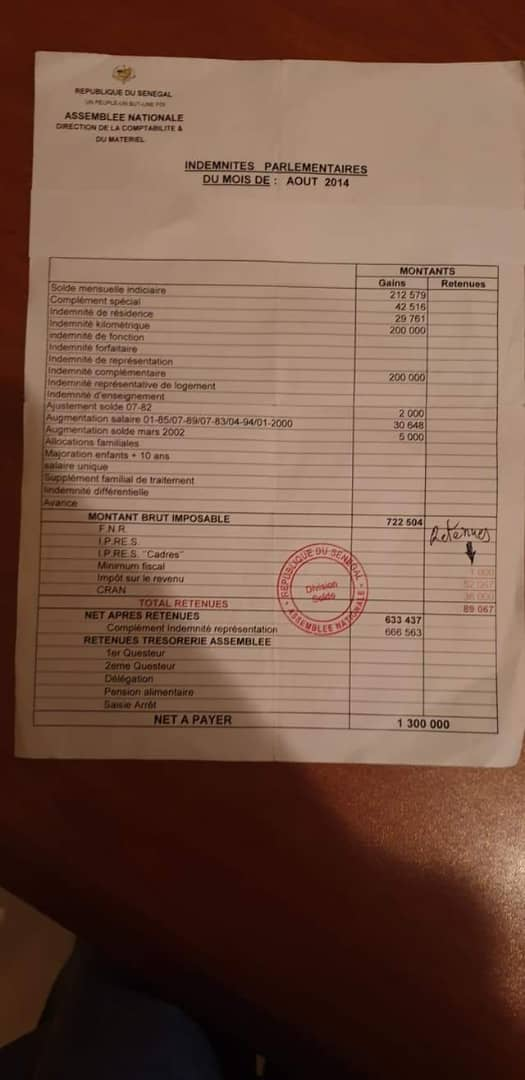 Impôt des députés: Interpellé par un compatriote, Mamadou Diop Decroix détaille tout, preuve à l'appui