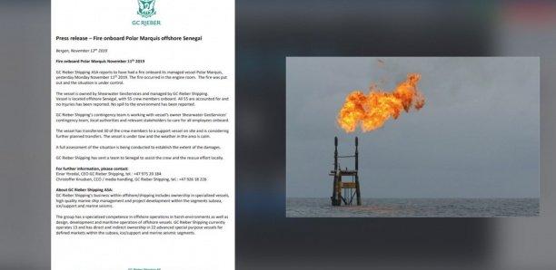 [Document] Pétrole et gaz: Un navire de sismique prend feu au large du Sénégal