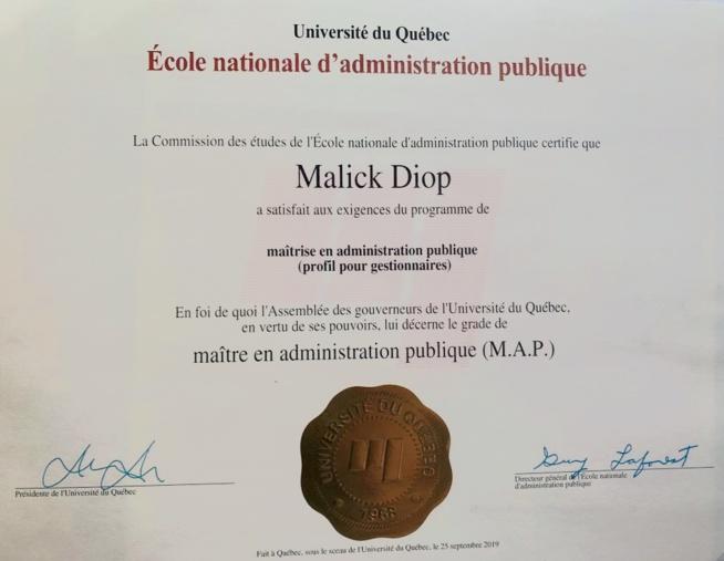 Le Directeur général de l'ASEPEX, Docteur Malick Diop, vient de décrocher son diplôme de Master en Administration publique, dans la prestigieuse Ecole Nationale d'Administration Publique du Canada (ENAP).