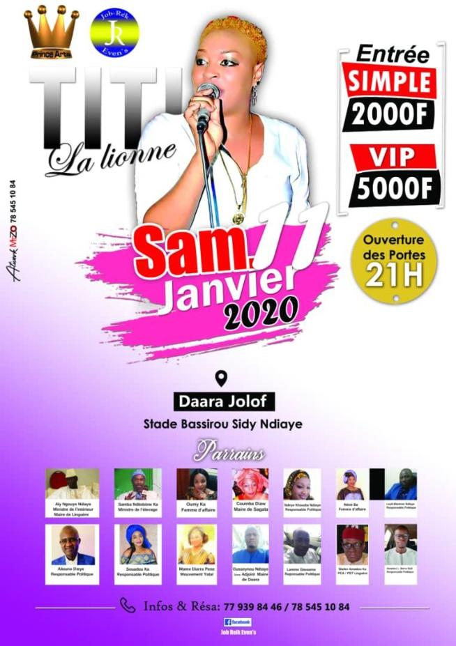 TOURNÉE NATIONALE: TITI, la lionne à POUT ce 07 Décembre, 14 à Bambilor, 21 à Linguére et 11 Janvier à Dara Djolof