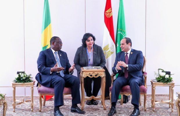 Quelques images du Président Macky Sall au forum pour la paix et le développement durable à Assouan en Egypte