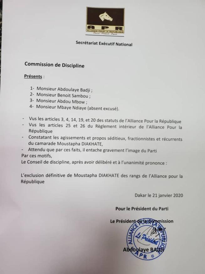 APR: Moustapha Diakhaté exclu du parti
