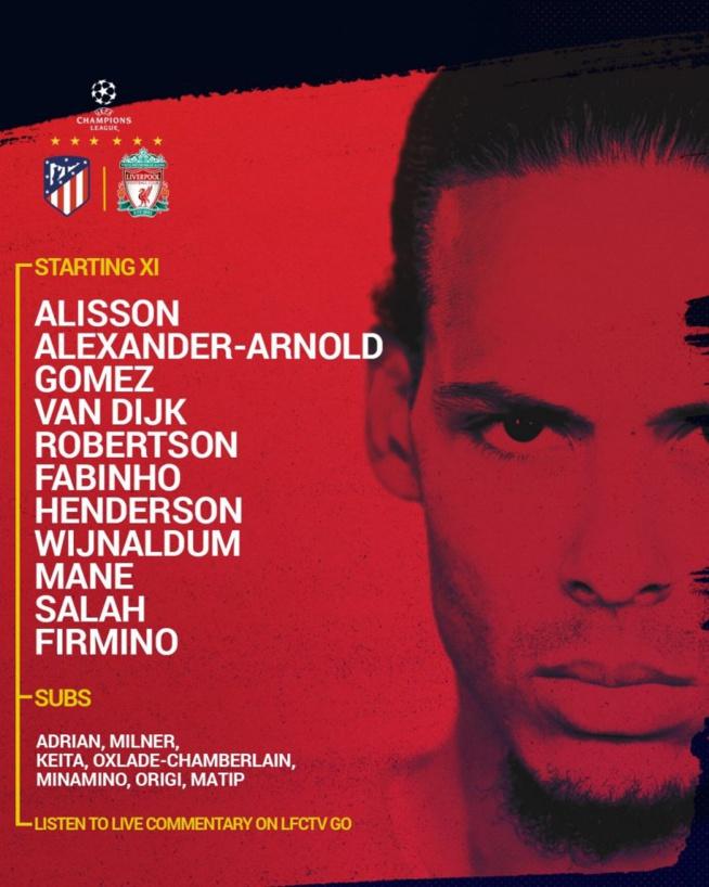 Liverpool : le onze de départ face à l'Atletico Madrid est connu