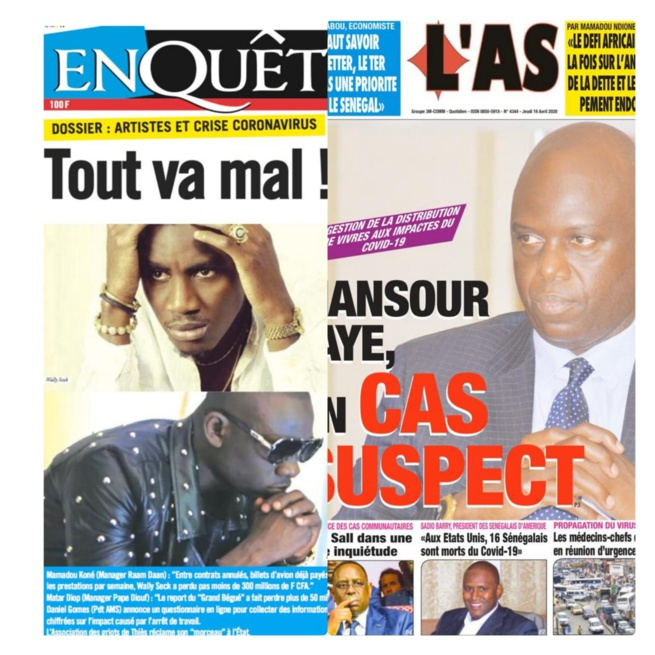 REVUE DES TITRES: Dossier c0vid- 19 tout va mal chez les artistes, Mansour Faye suspect... à la une des titres du jour