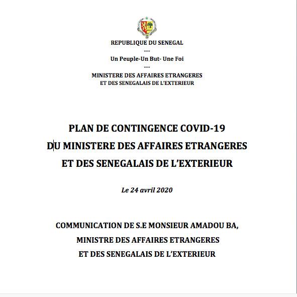 PLAN DE CONTINGENCE COVID-19  DU MINISTERE DES AFFAIRES ETRANGERES  ET DES SENEGALAIS DE L'EXTERIEUR