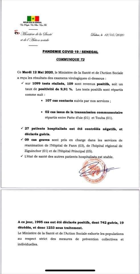 Covid-19: Le Sénégal enregistre 109 nouveaux cas dont 9 graves et 27 patients guéris
