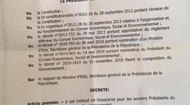Le décret accordant des privilèges aux anciens présidents du CESE est-il réellement un faux: Eclairages
