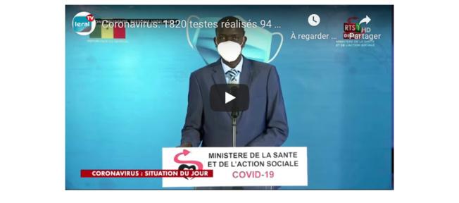 VIDEO - Coronavirus: 1820 testes réalisés 94 nouveaux cas positifs 57 guéris Situation du Lundi 1 Juin 2020