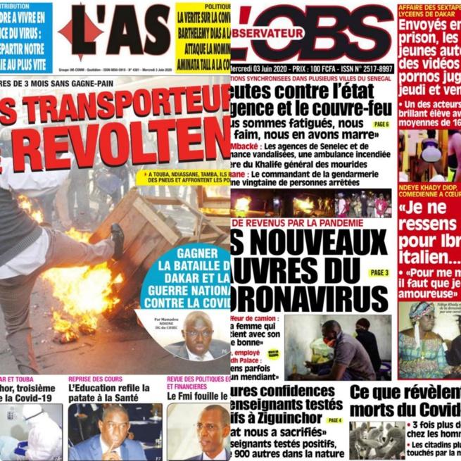REVUE DES TITRES: La une des quotidiens du mercredi 03 juin 2020.