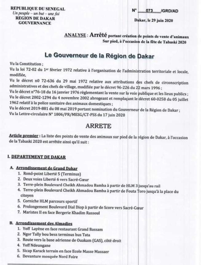 Arrêté Tabaski 2020: Liste des points de vente (document)