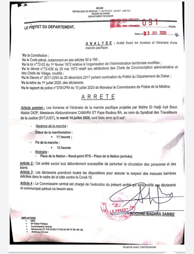 Marches pacifiques à Dakar : Le Préfet fixe désormais les horaires de 11h à 13h