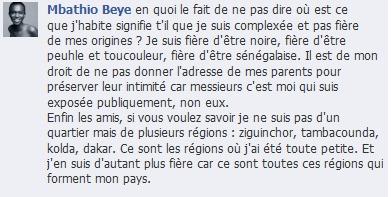 """Mbathio Beye  jugée de """"complexée"""" par les facebookers!"""