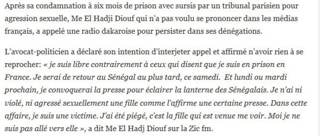 Me El Hadji Diouf sur sa condamnation: « J'ai été piégé, c'est la fille qui est venue vers moi… »