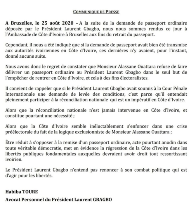 """Côte d'Ivoire - """"Ouattara refuse de faire délivrer un passeport ordinaire à Gbagbo"""" (avocat)"""