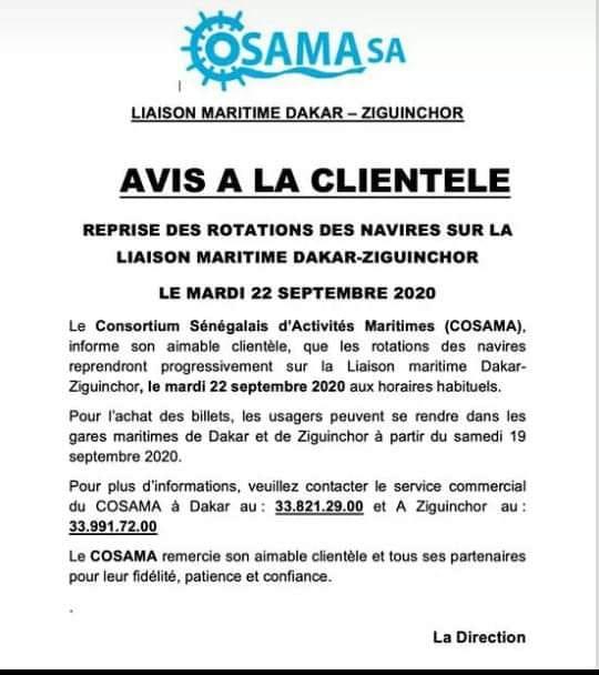 Liaison maritime Dakar-Ziguinchor: Reprise des rotations des navires le 22 septembre
