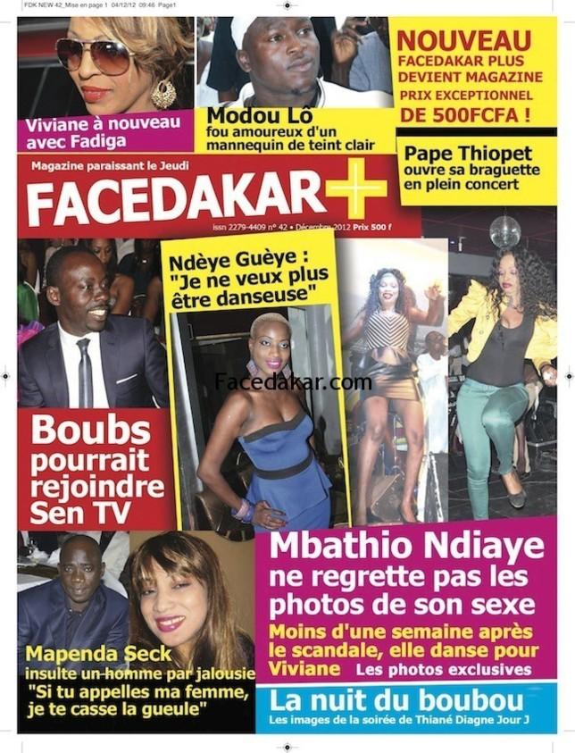 La Une de Facedakar Plus : Le journal devient magazine et passe à 20 pages pour 500 francs seulement!