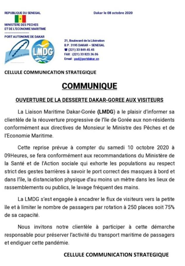 Dakar-Gorée: La liaison maritime reprend demain
