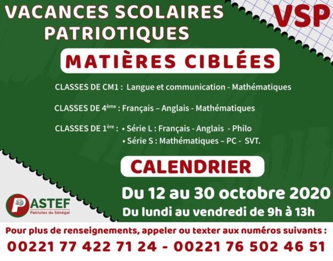 Les Vacances scolaires patriotiques auront lieu du 12 au 30 octobre 2020