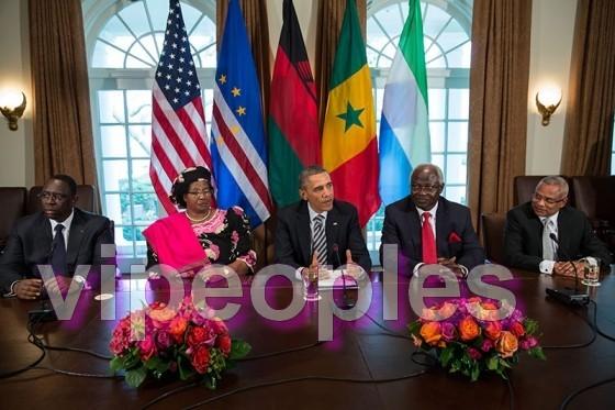 Barack Obama reçoit Macky Sall dans la salle du Cabinet de la Maison Blanche à Washington