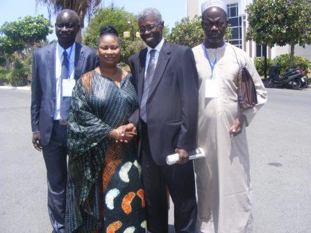 Mr Diop pdg et Mme Diop directrice de l'ISEG en compagnie du professeur Souleymane Bachir Diagne. Président du comité de pilotage de la CNAES