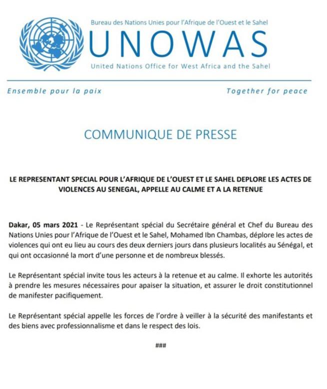 Mohamed Ibn Chambas, le représentant spécial pour l'Afrique de l'Ouest et le Sahel, déplore les actes de violence au Sénégal...