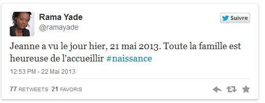 Rama Yade annonce la naissance de sa fille sur Twitter