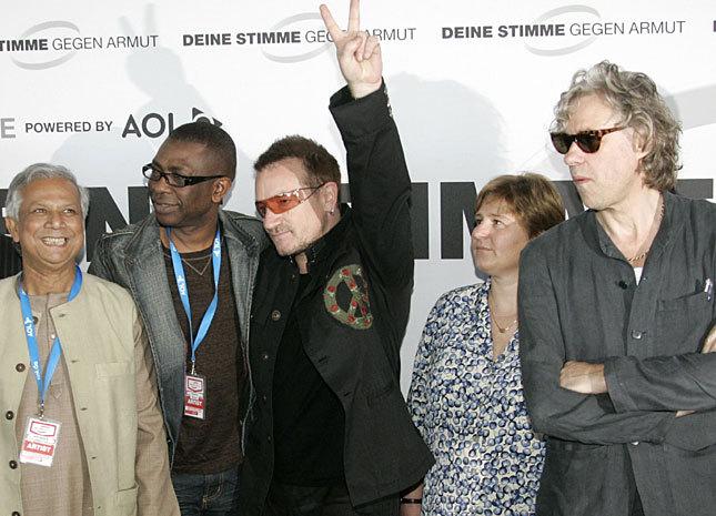 Youssou Ndour, Bono, Claudia Warning et Bob Geldof
