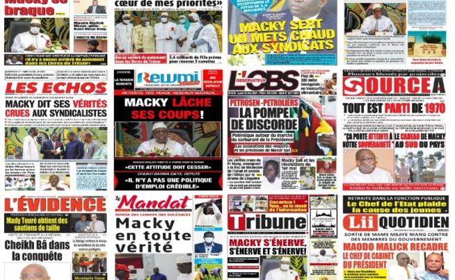 Les Unes des quotidiens : 1er Mai MACKY s'énerve devant les syndicalistes, Maodo Malick Mbaye recadre Mame Mbaye, SONKO tacle encore MACKY Sall, Edu le mu de Chelsea….