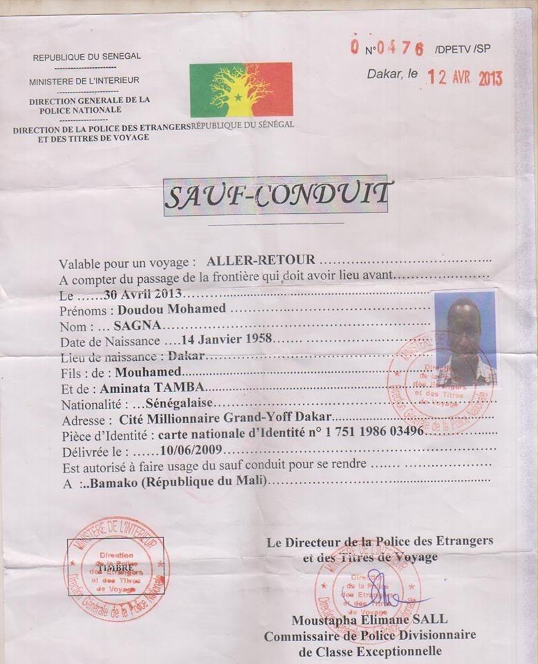 Voici le sauf conduit délivré par la police des Étrangers et des Titres de voyages à M Doudou Mouhamed Sagna