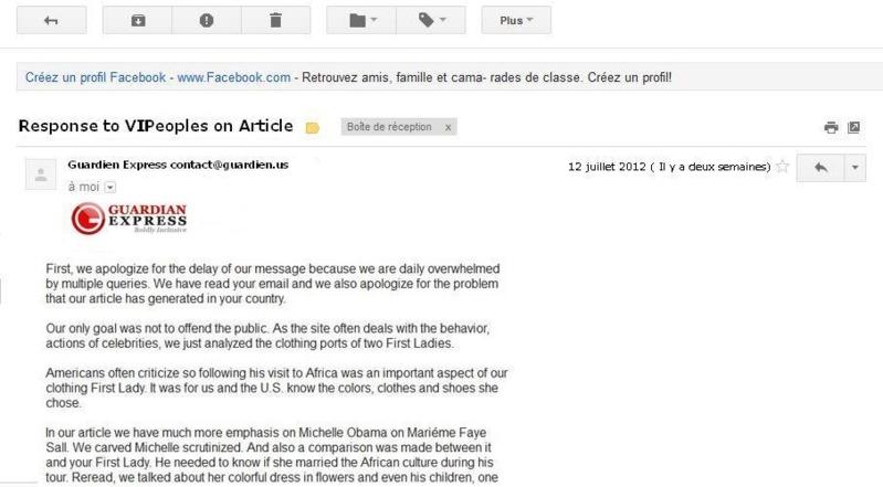 [EXCLUSIVITÉ] Un journaliste du site Guardienlv.com répond à Vipeoples : « En aucun cas nous n'avons voulu critiquer Marieme Faye Sall»