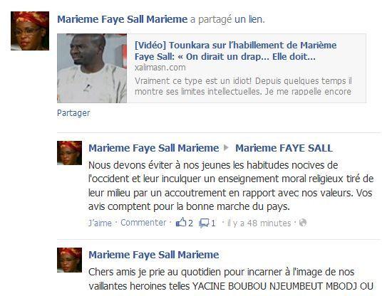 Marieme Faye Sall répond tardivement à Tounkara concernant son habillement