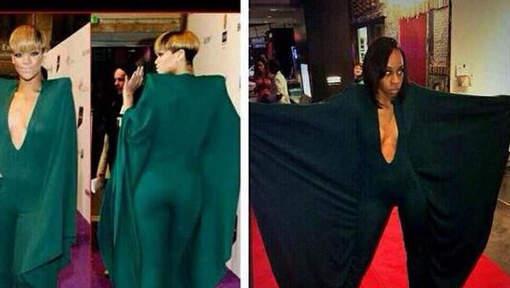 """Rihanna se moque d'une fan Une jeune femme qui voulait ressembler à son idole lors de son bal de promo est devenue la risée du web. Elle se dit """"humiliée""""."""