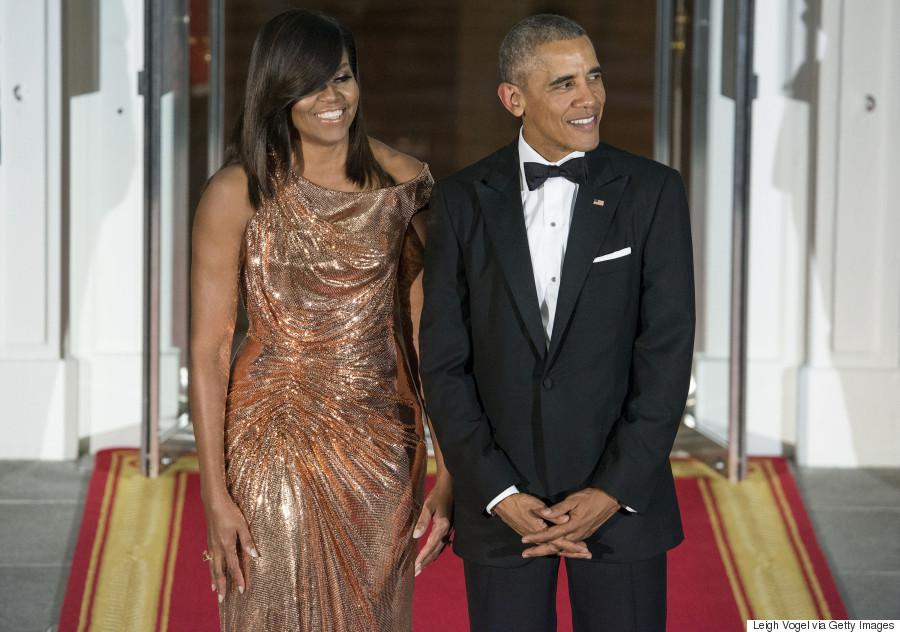 Michelle Obama, ultra sexy en robe lamée pour son dernier dîner d'Etat