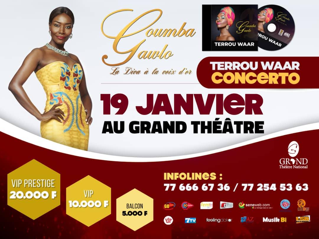 """""""TERROU WAR TOUR"""" La Diva Coumba Gawlo au grand théâtre ce 19 Janvier"""