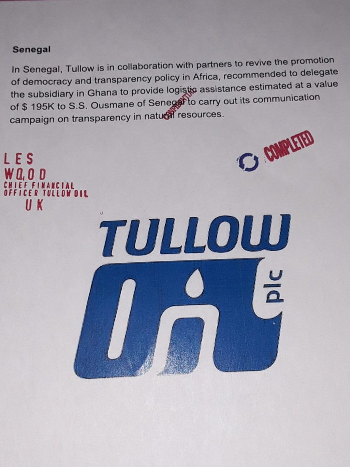 Ces documents de Tullow Oil compromettants pour Ousmane Sonko